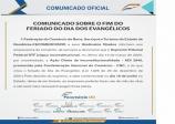 COMUNICADO FECOMÉRCIO SOBRE O FIM DO FERIADO EVANGÉLICO